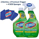 Clorox Clean-up Disinfectant Spray Cleaner with Bleach Value Pack (2-32ounce bottles) w- 4 SOS Sponge
