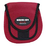 Velcro Closure 2 Compartments Mesh Fish Reel Holder Bag Red 17.5cm Long