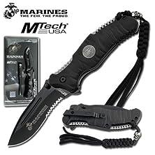 buy Us Marine Corps Tactical Folding Knife - Heavy Duty Black