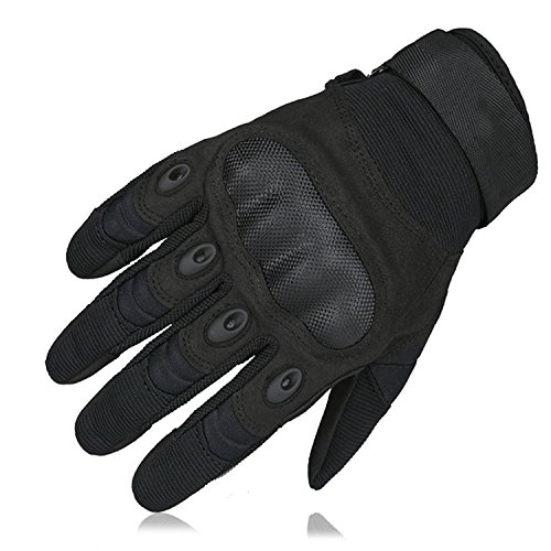 Adiew Full Finger Touch Screen Motorcycle Airsoft Tactical Riding Racing Training Army Shooting Breathable Military Mountain Bike Glove with Hard Knuckle for Men/Women(Black,XL)
