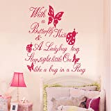 Butterfly Kiss Ladybug Hug Quote Wall Sticker Art Vinyl Decal Baby Room Paper Mural