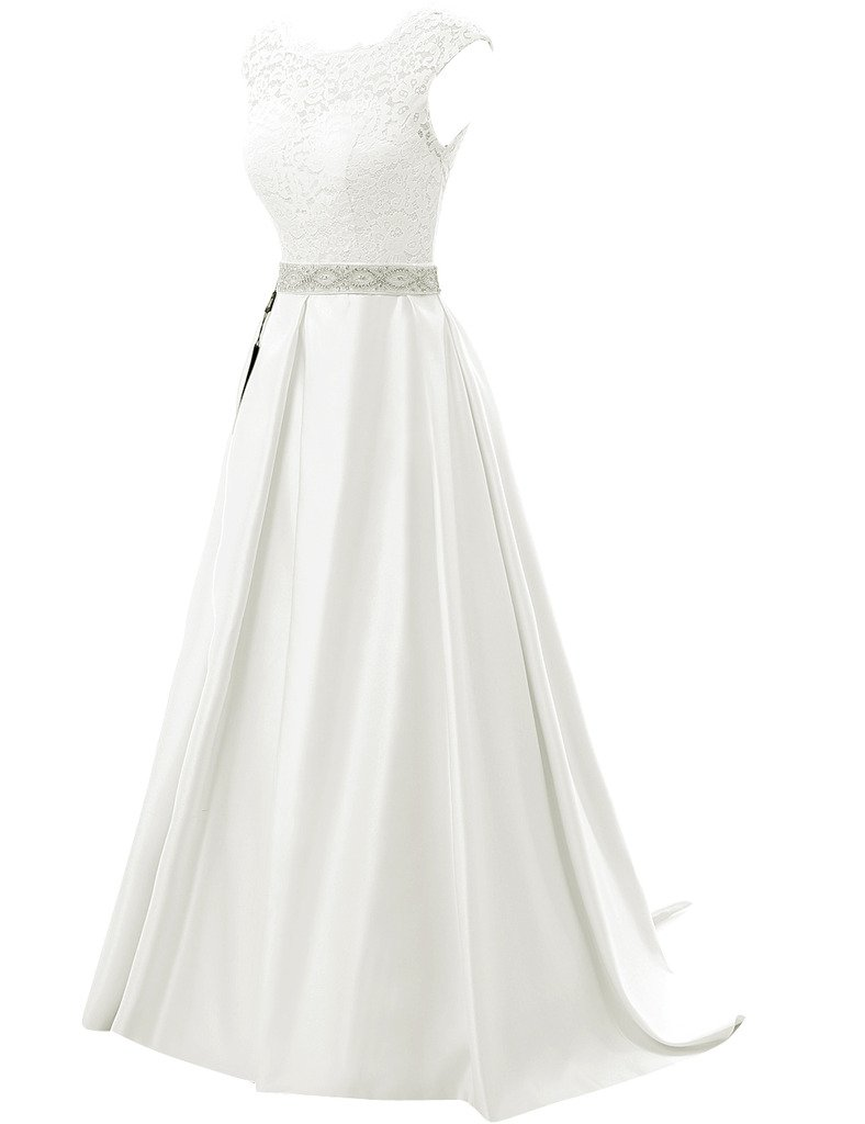 JAEDEN Vintage Wedding Dresses for Bride Simple Bridal Gown Cap Sleeve 2