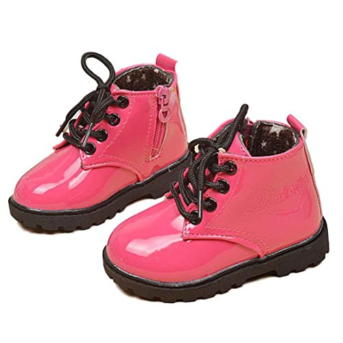 Tenworld Winter Baby Kids Boys Girls Shoes Lace-up Army Martin Boots (22, Hot Pink)