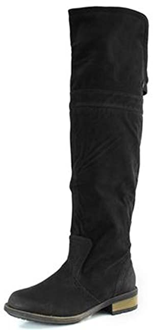 Qupid Women RELAX70 Closed Round Toe Western Bi Fold Thigh High Over The Knee Flat Low Heel Slouchy Boots Shoes, Black Faux Suede, 6 B (M) US