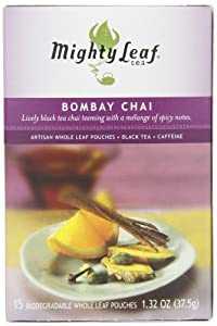 Mighty Leaf Tea, Bombay Chai, 15-Count Whole Leaf Pouches (Pack of 3) by Mighty Leaf Tea