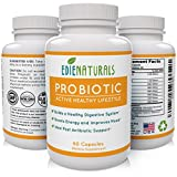 Premium Probiotic Supplement for Men & Women 60 Vegetarian Capsules 2 Month Supply * Improves Digestion * Boosts Energy * Lifts Mood * Natural Gluten Free Sourced & Manufactured in USA