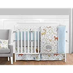 Blue, Grey and White Woodland Deer Fox Bear Animal Toile 9 Piece Baby Girl or Boy Crib Bedding Set