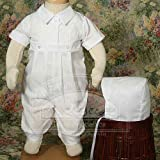 Baby Boys White Pin Tucked Baptism Outfit Suit 6M