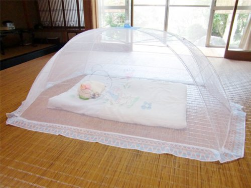 日本製ワンタッチベビー蚊帳・赤ちゃん用蚊帳 水色(ブルー) 広げた時約168×105×高さ58cm