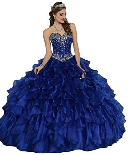 Long Shuang Fashionable Sweetheart Beaded Crystal Quinceanera Dresses Blue-2