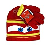 Disney Cars Knit Hat and Gloves 2pc Set Lightning McQueen, licensed