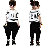 Girls' Summer Fashion Clothing Set Short-Sleeve Top and Black Pants, Multicolored, 11-12 Years/Tag 150