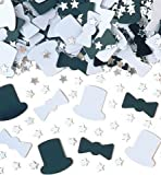White and Black Nite on the Town with Silver Stars Table Confetti