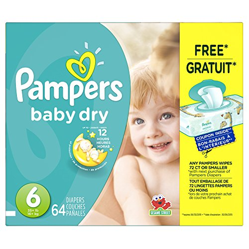 Pampers Baby Dry Size 6 Super Pack 64 Count, 64 Count - 1