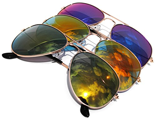 Classic Aviator Full Mirror Lens Sunglasses Metal Frame Gold Color