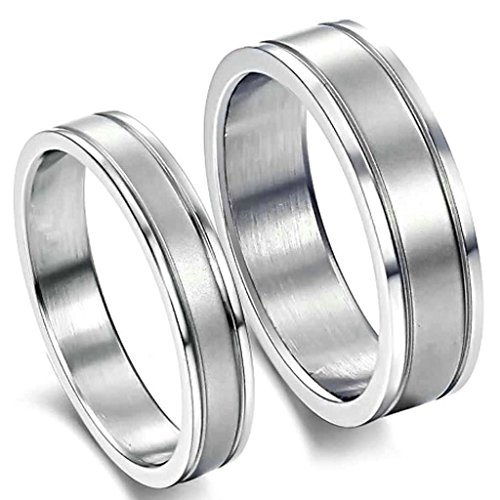 (キチシュウ)Aooazジュエリー カップルステンレスリング指輪 レディース ライン刻印 結婚指輪 シルバー 高品質のアクセサリー 日本サイズ14号(USサイズ7号)
