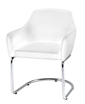 Plutus Styling Leatherette Armchair with Stainless Steel Legs, White