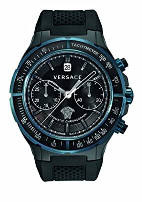 Versace Men's 26CCS9D009 S009 DV One Automatic Chrono Tachymeter Black Rubber Date Watch