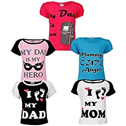 Goodway Junior Girls 5 Pack Mom & Dad Themed Combo Pack of 5 T-Shirts - 2-3 Years