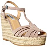 Steve Madden Mammbow Womens Size 9.5 Beige Peep Toe Suede Wedge Sandals Shoes