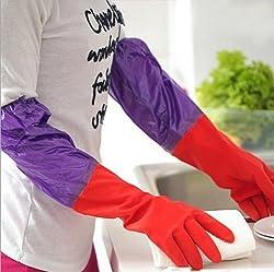 HOKIPO Rubber Latex Household Kitchen LONG Gloves, FREE Size - For Laundry, Dish-washing, Scrubbing Floors, Gardening etc