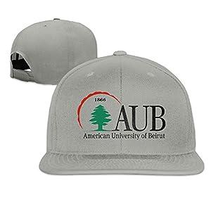 ElishaJ Flat Bill American University Of Beirut Baseball Hats Caps Ash