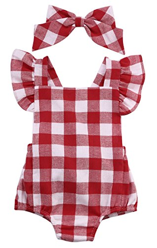 Newborn Infant Baby Girls Clothes Plaids Checks Romper Jumpsuit Bodysuit Outfits (12-18 Months, Red)