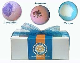 Bath Bomb Gift Set - 3 Giant 7 oz, Natural, Handmade, Assorted, AromaTherapy Bath Bombs - Lavender, Jasmine & Ocean Scents