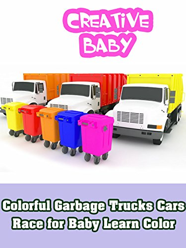Colorful Garbage Trucks Cars Race for Baby Learn Color