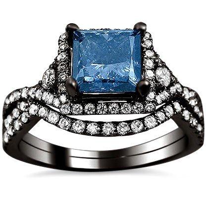 1.90Ct Blue Princess Cut Diamond Engagement Ring Bridal Set 18K Black Gold Rhodium Plating Over White Gold