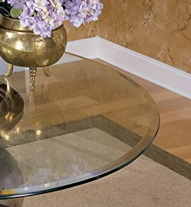 "45"" - 54"" Round Glass Table Top with Beveled or Wave Edge Table Top Size: 45"" Beveled Edge"