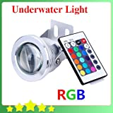 10W 12V RGB Underwater Led Light 1000LM Waterproof IP68 Fountain Pool Lamp Body Silver RGB FREE SHIPPING