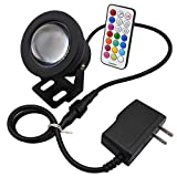 SUNGETACE® 10W Memory Function RGB Multi-color 16 Colors Changing LED Underwater Light Spotlight Flood Timing Setting for Fountain pond Garden Pool Wireless IR Remote AC85-265V Adaptor and 12V 24V Lamp Waterproof