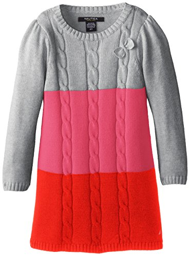 Nautica Little Girls' Long Sleeve Color Block Dress With Cables And Bow, Grey Heather, 4T