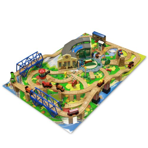 Thomas & Friends Wooden Railway - Tidmouth Sheds Deluxe Train Set with Island Adventure Playboard - with Set Nailed to Playboard - NIB