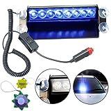 HQRP Car 8-LED Emergency Vehicle Dash Warning Strobe Flash Light 12V 8 Blue LEDs 4x4 Type plus HQRP UV Meter