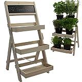 Blumentreppe aus FSC® Holz in Weiß 74 x 39 x 40 cm mit Kreidetafel mit Imprägnierung wetterfest und langlebig