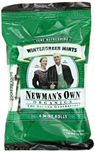 Newman's Own Organics Mints, Wintergreen, 4-Count, 3-Ounce Packages (Pack of 6)