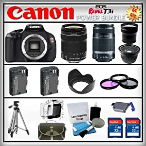 Canon EOS Rebel T3i 18MP - Canon EF-S 18-135mm f/3.5-5.6 IS - Canon EF-S 55-250mm f/4-5.6 - Wide Angle and 2x Telephoto Zoom Lens - 2x 32GB Memory Card - Card Reader - 2 Batteries - Tulip Lens Hood - 3 Piece Lens Filter Kit - Carrying Case - Screen Protector - Lens Cleaning Kit - Full Size Tripod