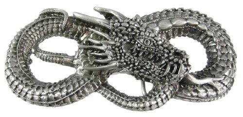 Coiled Serpent Pewter Belt Buckle Dragon Evil