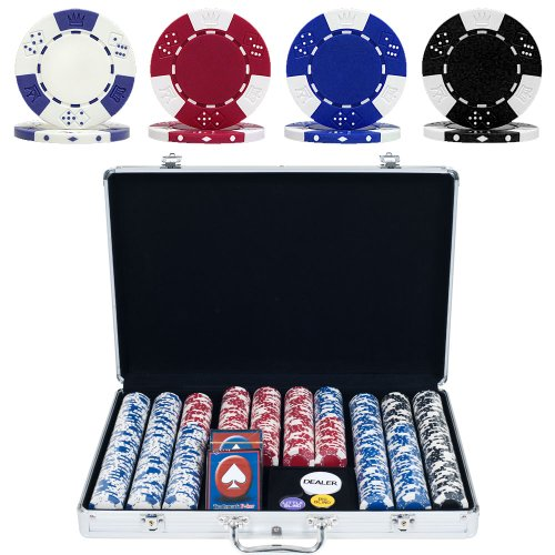 Lucky Crown Poker Chip Set with Executive Aluminum Case (650-Piece), 11.5gm