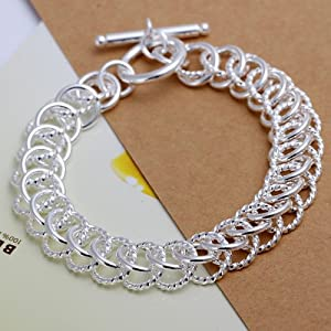 New 925 Sterling Silver European Charm Fashion Bracelet #Ring/beads/h022