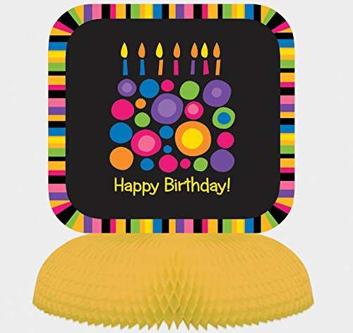 Creative Converting Birthday Cake Dots Centerpiece with Honeycomb Base, Multicolor