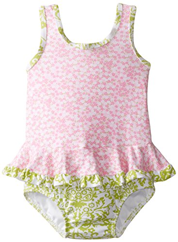 Flap Happy Baby Girls' Stella Ruffle Suit with Swim Diaper, Baby Blooms, 12 Months