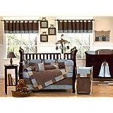 Modern Soho Blue and Brown Baby Boy Bedding 9pc Bedding Crib Set ~ Sweet Jojo Designs