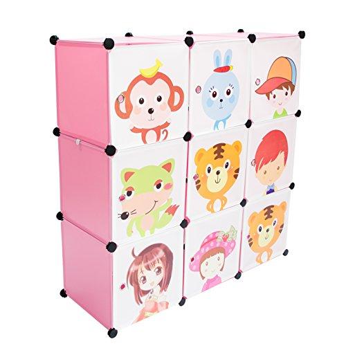 VENKON-Kinderzimmer-Steckschrank-DYI-Steckregal-System-Regalschrank-9-Module-Set-rosa