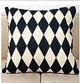 1ZMountletstore Black and White Geometry Diamond AA316 Pillowcases Cotton Linen Decorative Throw Pillowcovers 18x18inch