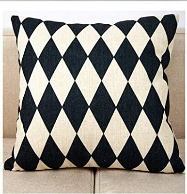 1ZMountletstore Black and White Geometry Diamond AA316 Pillowcases Cotton Linen Decorative Throw Pillowcovers 18x18inch