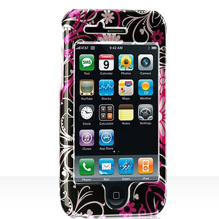 Premium Designer Hard Crystal Snapon Case for Apple iPhone 3G, 3GS 3GS  Cool Pink Butterfly Print