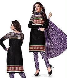 Kesar Sarees Fancy Printed Black Cotton Dress Material